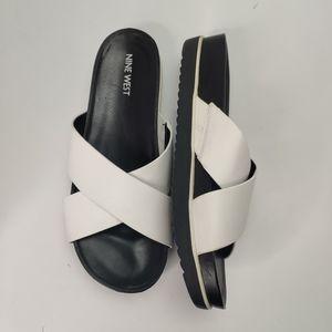 Nine West Tomboy Slides White Size 8